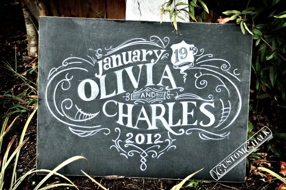 Personalized Wedding Chalkboard Sign Reception Chalk Art Customized With Bride And Groom Names Date