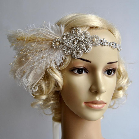 Vintage Bohemian Rhinestone Headband Headpiece With Feathers Great Gatsby Wedding Fler 1920s Bridal Hair Piece Prom