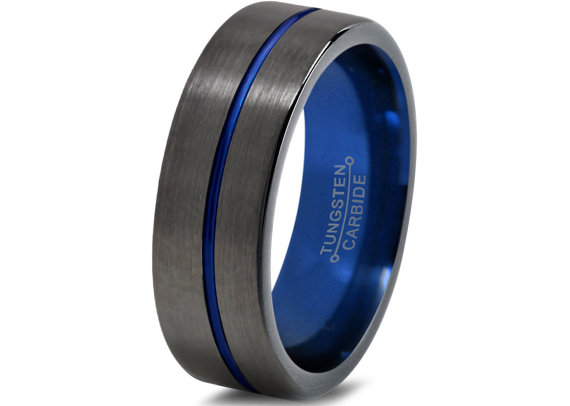 Mens Gunmetal Wedding Band Tungsten Carbide Brushed Pipe Cut Blue Black Annivarsary Ring All Sizes Custom Laser Engraved