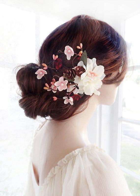 Bridal Hair Clip Flower Wedding Accessories Burgundy Ivory Comb Rustic Fl Headpiece