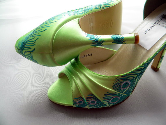 Bridal Lime Green Shoes Wedding Pea Feather Citronade Keziah