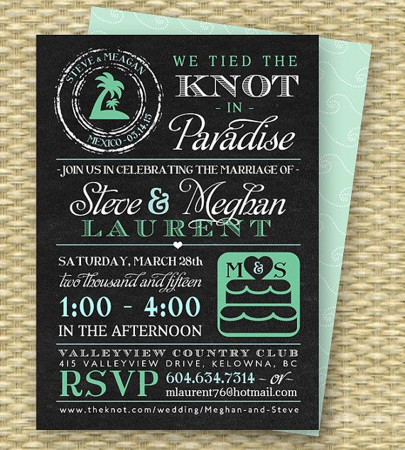 Chalkboard Post Destination Wedding Reception Invitation Tied The Knot In Paradise Beach Invite Any Colors