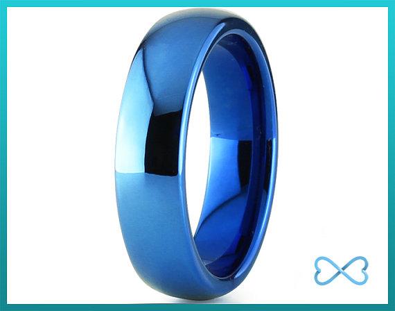 Mens Tungsten Ring Blue Black Men Rings Wedding Bands Band Women Set His
