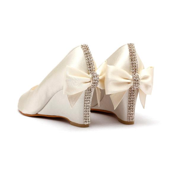 Ivory Rhinestone Wedding Shoes White Bridal Wedges Garden Beach With Back Bow