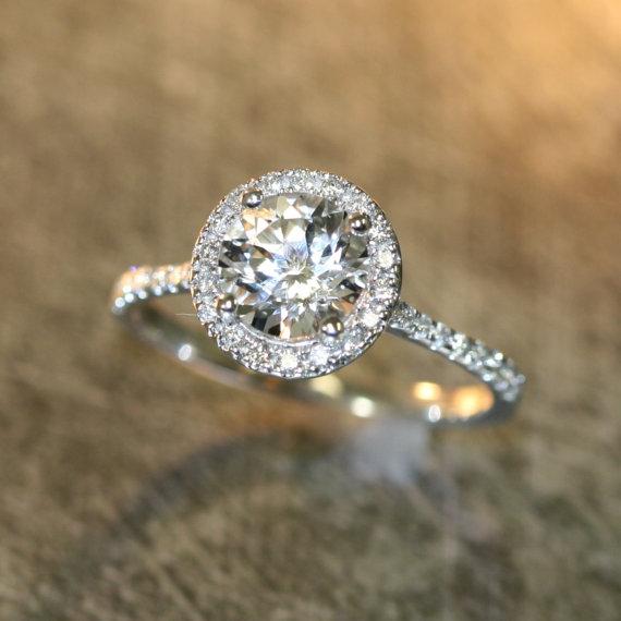 14k White Gold Topaz Halo Diamond Engagement Ring 7mm Round Gemstone Set In Half Eternity Wedding Band
