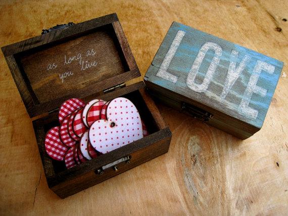 Small Love Vintage Wooden Jewelry Gift Box Birthday Anniversary Best Friend Wedding