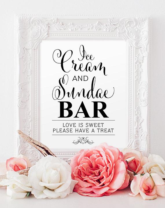 Ice Cream Sundae Bar Sign 8 X 10 Printable In Bella Black Pdf And Jpg Files Instant
