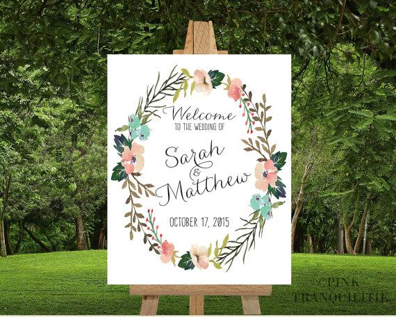 Printable Custom Wedding Welcome Sign Names Date To Our Poster Bride And Groom Name Fl Watercolor Wreath