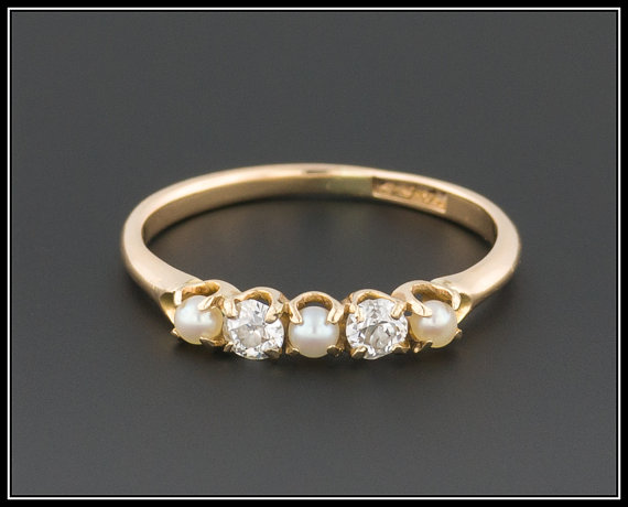 Vintage Pearl Diamond Ring 14k Gold Wedding Stacking