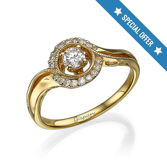 Sale Vintage Engagement Ring 14K Yellow Gold Handmade Ring With