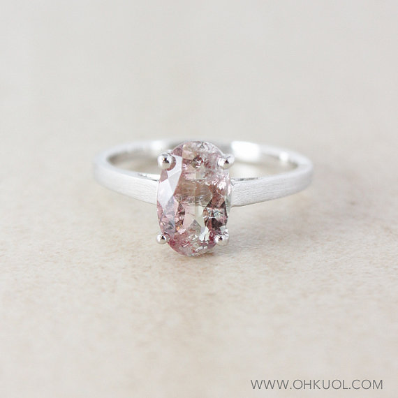 Pink Clear Tourmaline Engagement Ring Oval 925 Sterling Silver