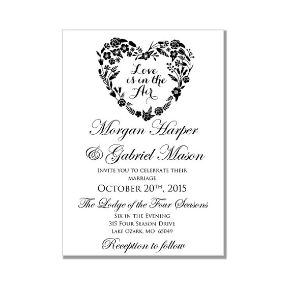 Wedding Invitation Template Love Is In The Air Heart  Invitation Templates Microsoft Word