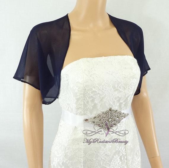 Navy Blue Chiffon Jacket Bridal Bolero Wedding Shrug Wrap Scarf Stole Scj108 Nblue