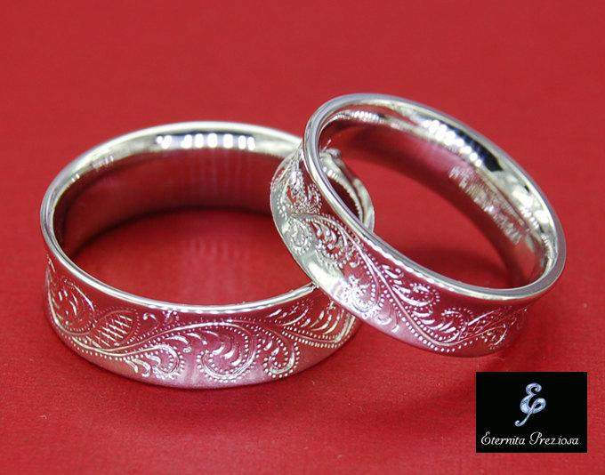 Flower Ornate Hand Engraved Wedding Band Set Antique Engagement Ring Silver Rings Comfort Bands