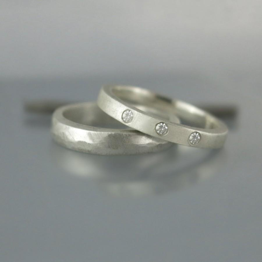 stacking modern wedding ring set simple diamond his and - Simple Wedding Ring Sets