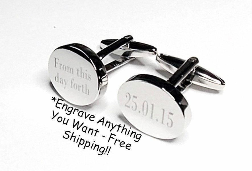 Silver Oval Engraved Wedding Cufflinks Personalised Date Always And Forever Groom Best Man Usher Custom