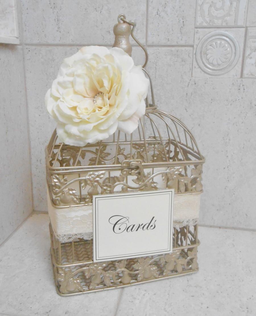 Small Champagne Gold Wedding Birdcage Card Holder Box Decor