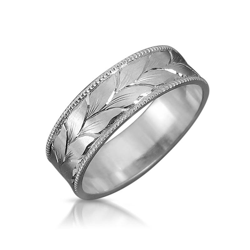 Leaves Wedding Band Mens Ring White Gold Hand Engraved His And Hers Bands Unique Rings Personalized