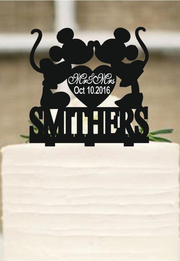 mickey and minnie silhouette wedding cake topper mickey mouse cake topper wedding cake topper personalized 17345