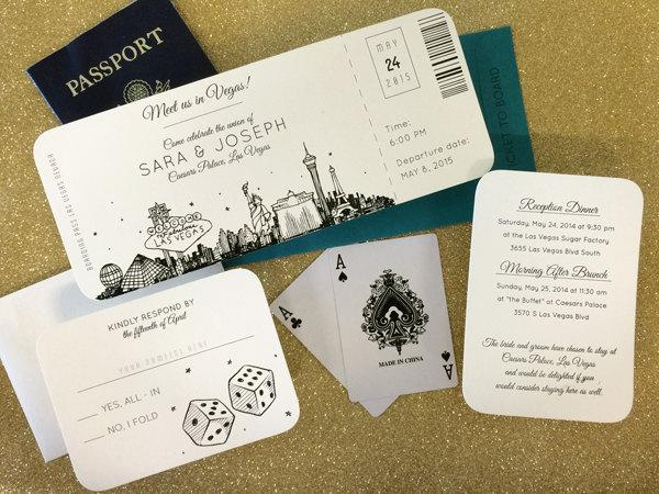 Las Vegas Skyline Plane Ticket Wedding Invitation Destination Elope Sample