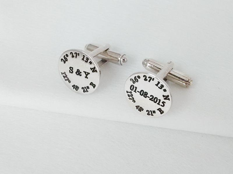 Silver Coordinates Cufflinks For Groom Laude Longitude Personalized Wedding Engraved Coordinate Cuffl Inks
