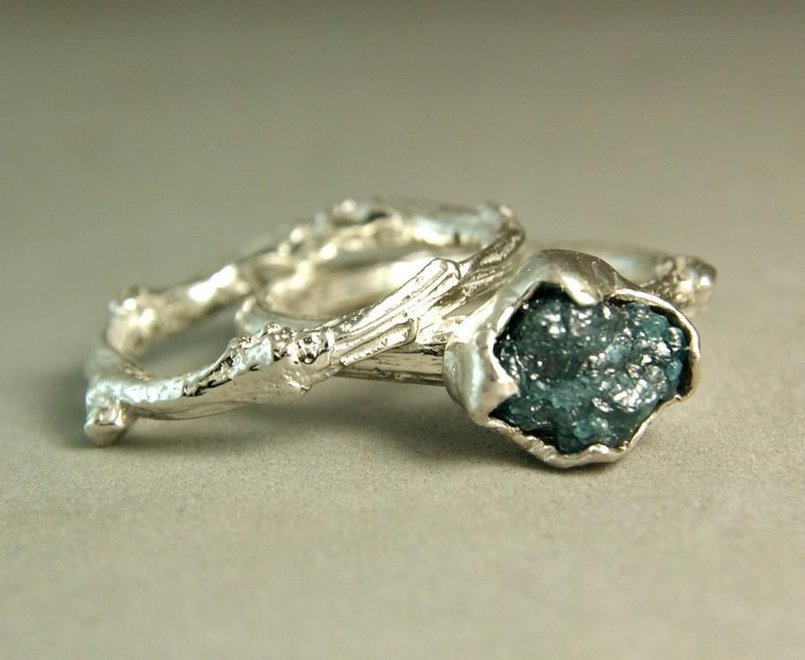 Natural Rough Blue Diamond Twig Ring Hand Made Custom Wedding Set Raw Engagement Size