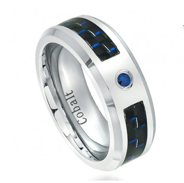 8mm Men Women Uni His Hers Wedding Engagement Band High Polish Cobalt Ring 0 05 Carat Blue Shire Stone Black Carbon Fiber Inlay