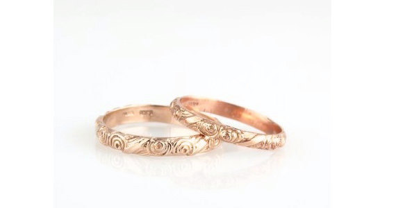 On Personalized Wedding Ring Wide 14k Vintage Inspired Fl Engraved Band Rose Gold