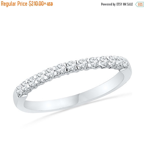 Holiday 10 Off White Gold Diamond Wedding Band With 1 4 Ct T W Half Eternity