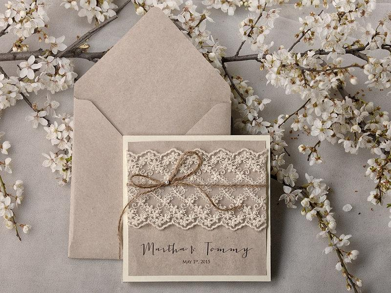 Rustic Wedding Invitations 20 Invitation Suite Lace Pocket Fold Invites Shabby Chic