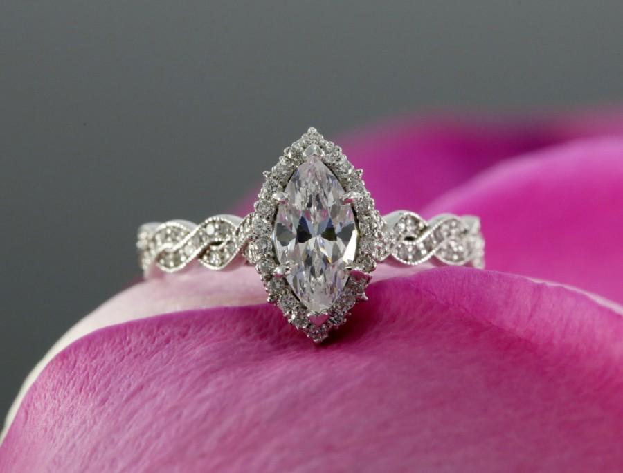 Marquise Moissanite Halo Engagement Ring Halfway Infinity Ring