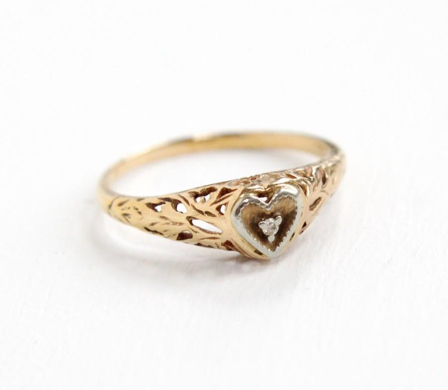 Sale Antique 10k Yellow Gold Art Deco Heart Diamond Ring Size
