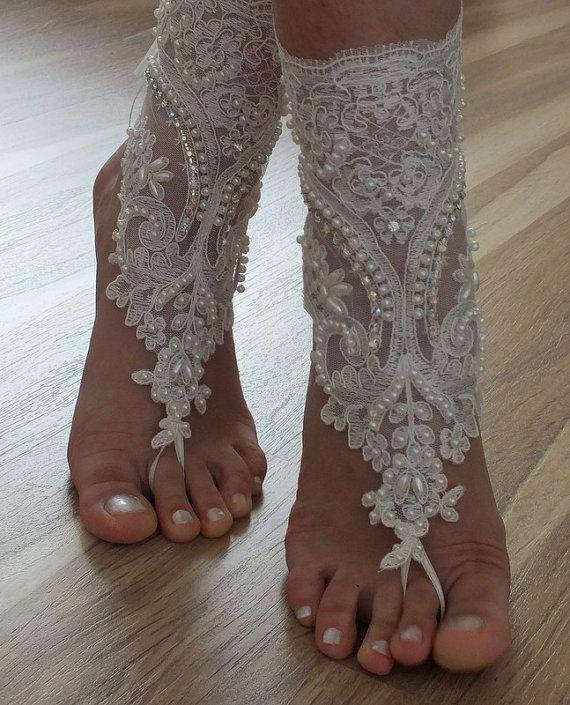 Beach Shoes Free Ship Unique Design Bridal Sandals Lariat Wedding Ivory Accessories Summer Wear