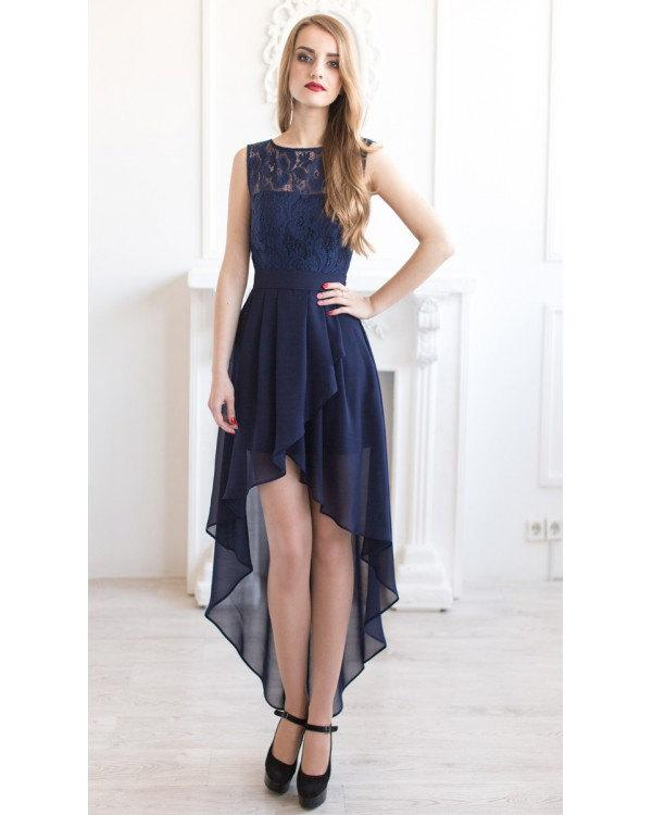Navy Blue Bridesmaid Dress Asymmetric Lace Long Tail Wedding