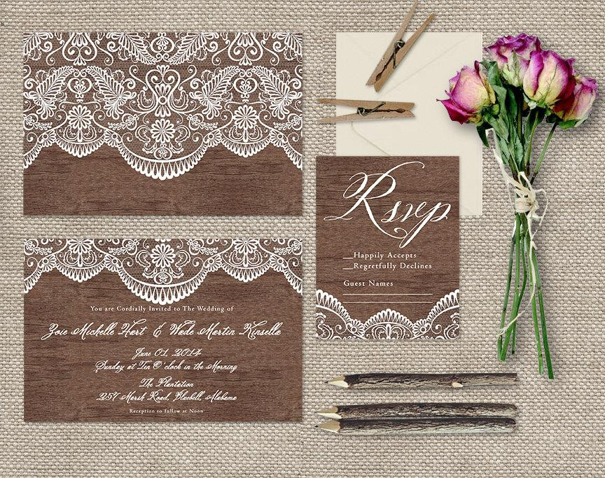Lace Wood Wedding Invitations Shabby Chic Weddings Or Rustic Vintage Inspired Invites Printed Cards