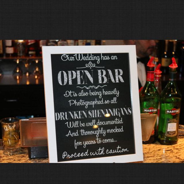 Open Bar Sign Wedding Drunken Shenanigans Chalkboard Tail Digital