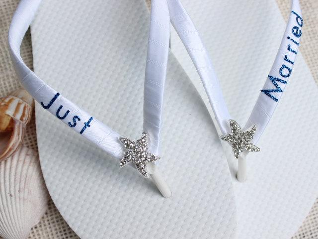 Just Married Gift Bride Flip Flops Bridal White Beach Wedding Shoes Sandals Royal Blue