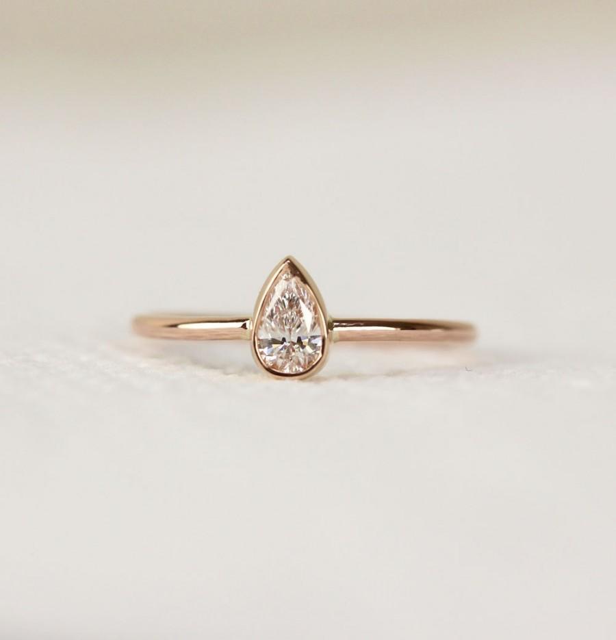 14k Solid Gold Pear Shape Diamond Engagement Ring In Bezel Set Simple And Elegant Wedding