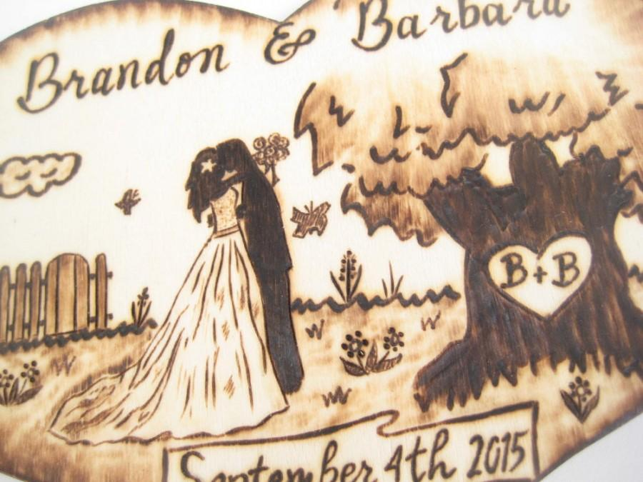 Rustic Wedding Cake Topper Wood Heart Tree Silhouette Bride And Groom With Dog Country Unique Gift Personalized