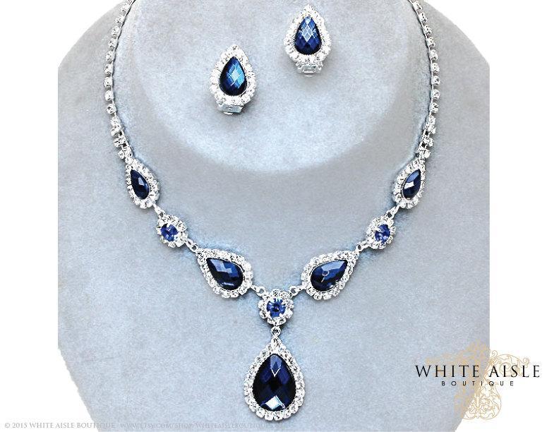 Fabulous Sapphire Blue Drop Necklace Set, Rhinestone Bridal Statement  YM91