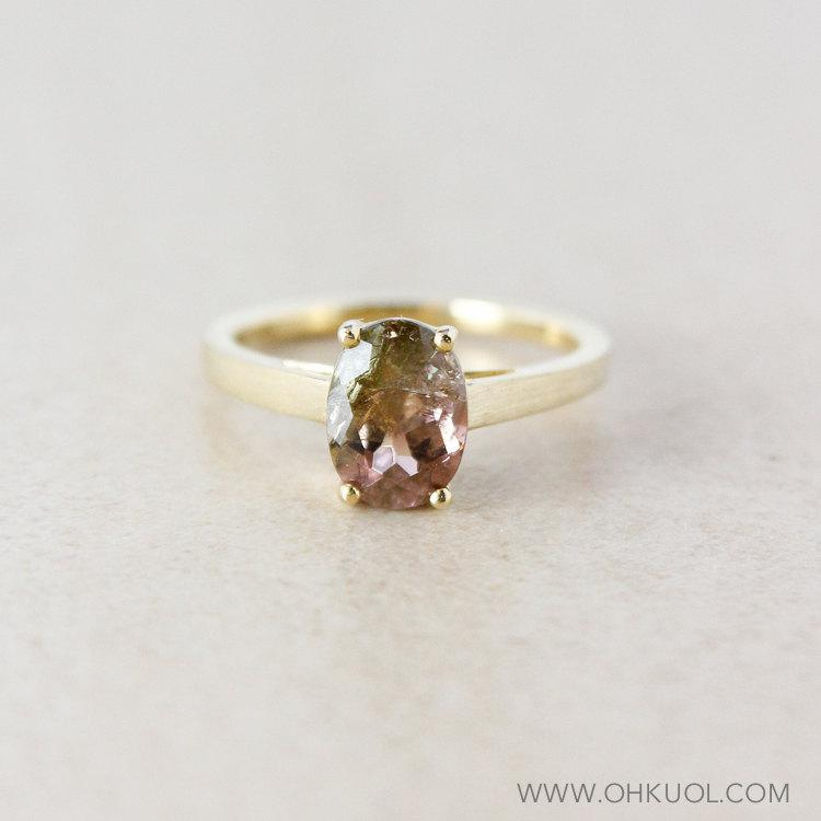 Watermelon Tourmaline Engagement Ring Oval 10k Yellow Gold