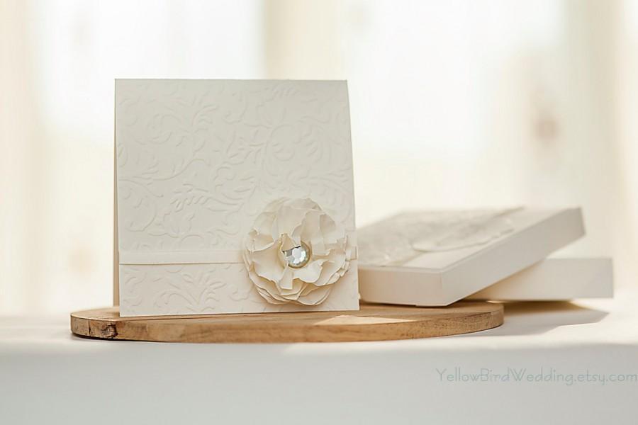 Elegant Ivory Wedding Invitation Handmade With Box Fsc Paper Only Eco Friendly Off White Luxury