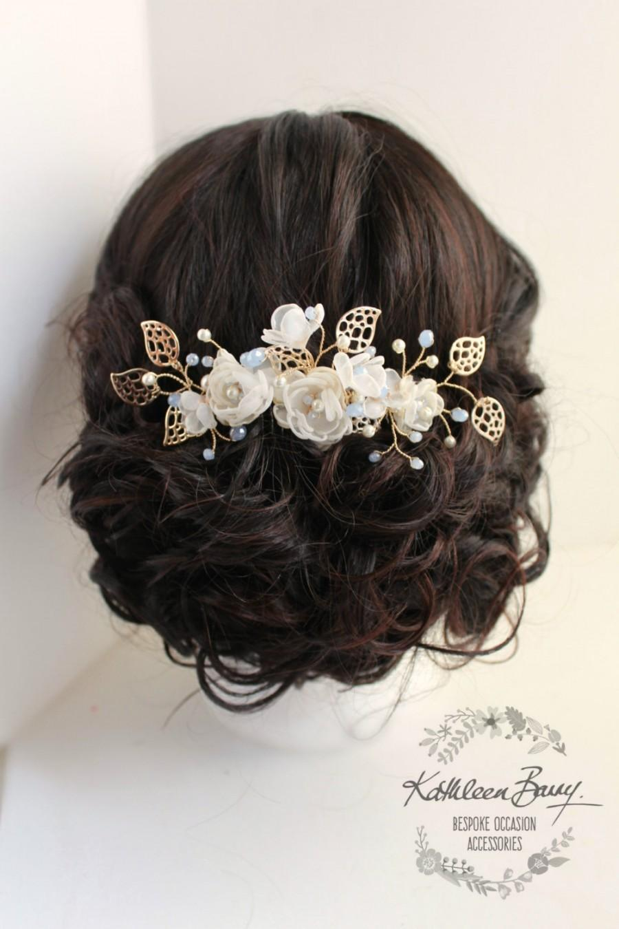 r790 soft gold rose gold hair comb hairpiece soft blue - wedding