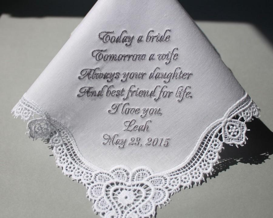 Personalized Wedding Handkerchiefs Embroidered To Mother Of Bride Monogram Custom