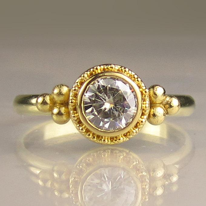 22k Gold Granulated Moissanite Engagement Ring Yellow Solid Wedding
