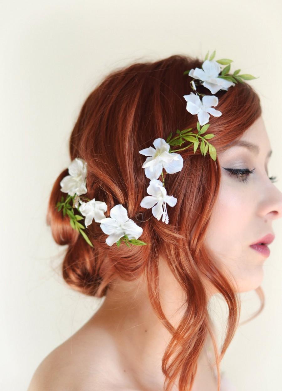 white flower hair vine, bridal headpiece, wedding hair accessory