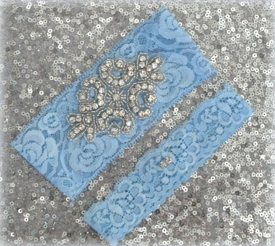 Wedding Garter Set Light Blue Lace Silver Rhinestone Crest Show Dual Stud Toss Other Colors Available