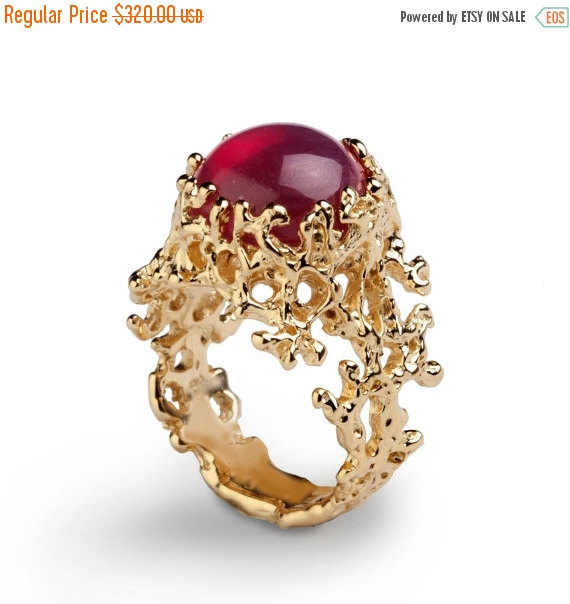 f SALE CORAL Yellow Gold Ruby Ring Red Ruby Ring Gold
