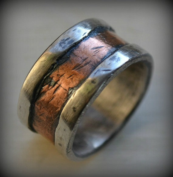 Mens Wedding Band Rustic Fine Silver And Copper Handmade Hammered Designed Wide Ring Manly Customized