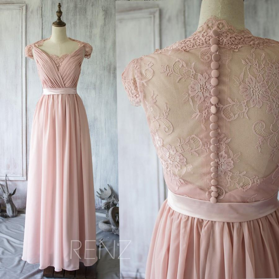 2017 Blush Lace Bridesmaid Dress Cap Sleeves Dusty Pink Wedding Party Formal Elegant Floor Length F120a